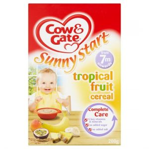 Cow & Gate Tropical Fruit Cereal from 7 months 200g pack Made in UK