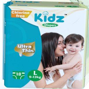 Kidz Ultra Thin Diapers Large (9-13kg) – 18 pcs