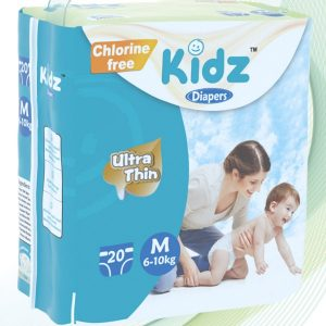 Kidz Ultra Thin Diapers Medium (6-10kg) – 20 pcs