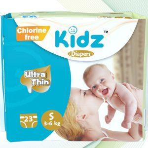 Kidz Ultra Thin Diapers Small (3-6kg) – 23 pcs