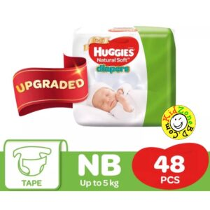 Huggies Natural Soft Diapers Newborn (Up to 5 kg) – 48 pcs