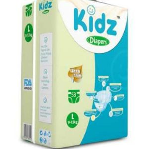 Kidz Ultra Thin Diapers Large (9-13kg) – 58 pcs