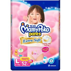 MamyPoko Pants Large (9-14 kg) – 52pcs (for Girls)