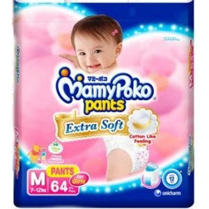 MamyPoko Pants Medium (7-12 kg) – 64pcs (for Girls)