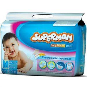 SuperMom Diapers Medium (6–11kg) – 26pcs