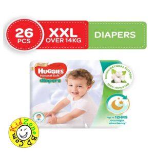 Huggies Natural Soft Diapers XXL (Over 14 kg) – 26pcs